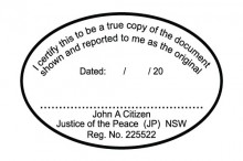 JP8 Stamp NSW, VIC, ACT, TAS   I Certify this to be ..... (oval shape)