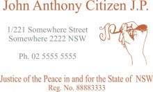 JP5 Colour 6 Stamp NSW, VIC, ACT, TAS. A Justice of the Peace in and.....