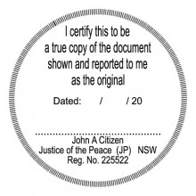 JP9 Stamp NSW, VIC, ACT, TAS. I Certify this to be a True Copy..... (round)