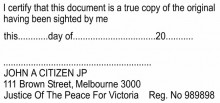JP Stamp VIC - I Certify this document is a...... (For Single Pages)
