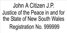 JP5 Stamp NSW, VIC, ACT, TAS. A Justice of the Peace in and.....