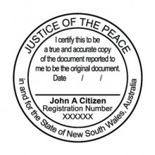 JP10 Stamp NSW, VIC, ACT, TAS. I Certify this to be a True Copy..... (round)