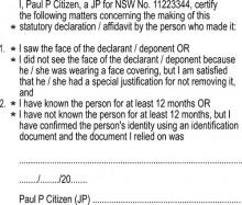 JP 15 Stamp - Identification Wording for Affidavits and Stat Decs