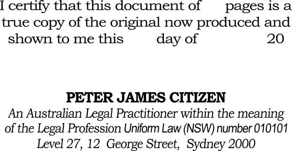 Certification Stamp An Australian Legal Practioner Within