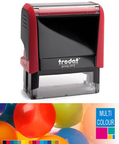 multicolour trodat printy 4913 self inking rubber stamp 58mm x 22mm. Black Bedroom Furniture Sets. Home Design Ideas
