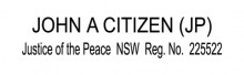 JP4 Stamp NSW, VIC, ACT, TAS. Justice of the Peace NSW .......