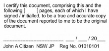 JP Stamp NSW  I certify this document, comprising this.....(multiple pages)