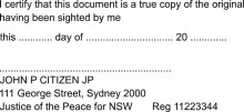 JP Stamp NSW With Address - I Certify this document to be a...... (For Single Pages)