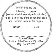 JP12 Stamp NSW, VIC, ACT, TAS  I-Certify-this-to-be.......multiple-pages - round shape