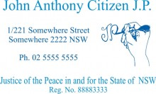 JP5 Colour 5 Stamp NSW, VIC, ACT, TAS. A Justice of the Peace in and.....