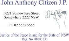 JP5 Colour 7 Stamp NSW, VIC, ACT, TAS. A Justice of the Peace in and.....