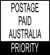 Stock Text Stamp Postage paid Australia PRIORITY