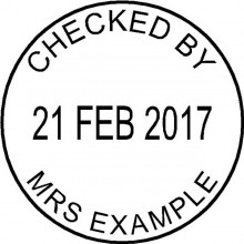 Personalised Teacher Stamp Checked by with Adjustable Date