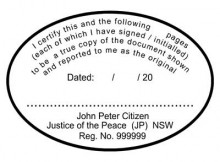 JP11 Stamp NSW, VIC, ACT, TAS   I-Certify-this-to-be.......multiple-pages - oval shape